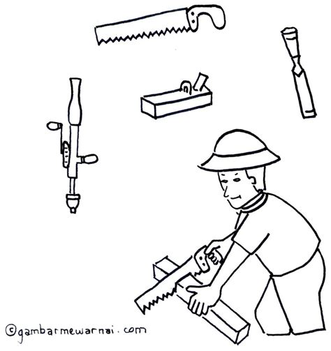 Gergaji Lidi mengenal dan mewarnai peralatan tukang kayu gambar mewarnai