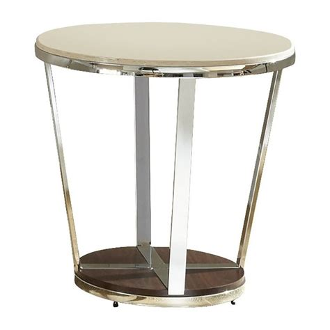 espresso accent tables steve silver company bosco faux marble round end table in