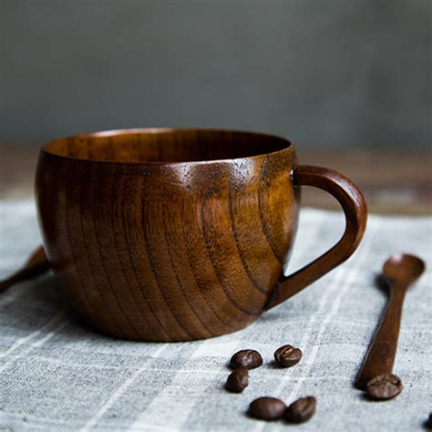 Handmade Coffee - japanese style jujube wood teacup 260ml coffee mug