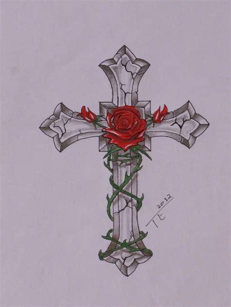 rose tattoo generator cross with rose ink pinterest