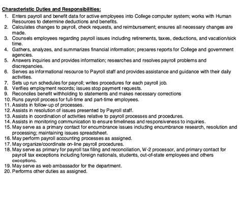 20 responsibilities and duties payroll specialist payroll specialist description ideasplataforma