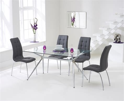 glass table with 4 grey chairs harris salento 150cm glass dining table with 4