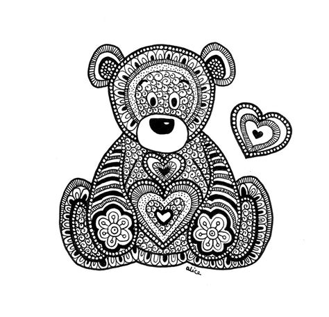 bear mandala coloring pages black white zentangle inspired teddy bear with heart by
