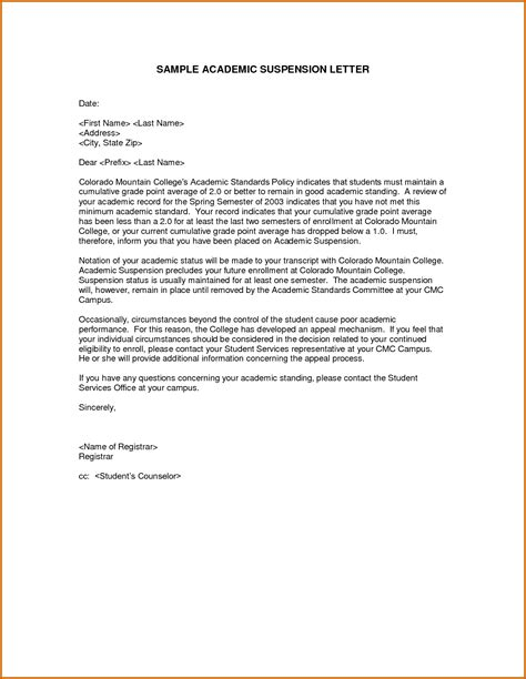 Appeal Letter For Suspension 11 College Suspension Appeal Letter Exle Lease Template