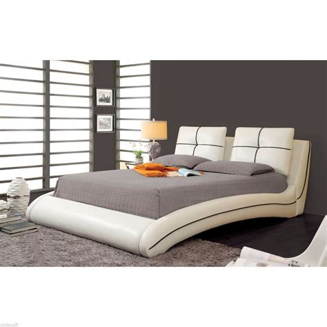 modern king size curved platform leather bed frame bedroom