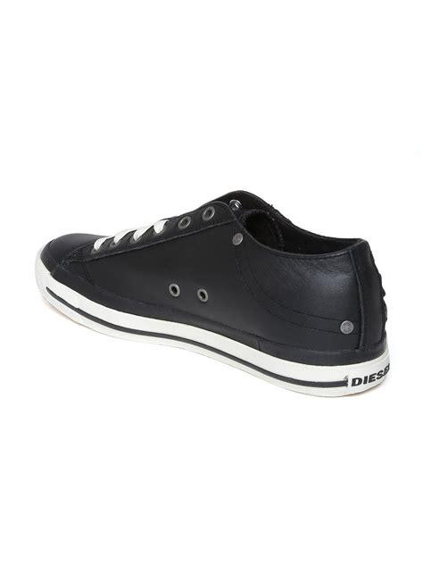 myntra diesel black leather casual shoes 797934 buy