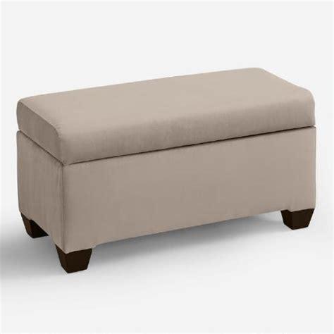 Upholstered Storage Bench Velvet Pembroke Upholstered Storage Bench World Market