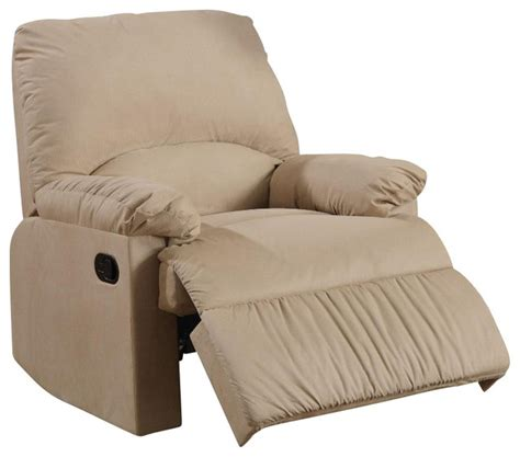 Light Brown Recliner Chair Coaster Microfiber Upholstered Glider Recliner Chair In