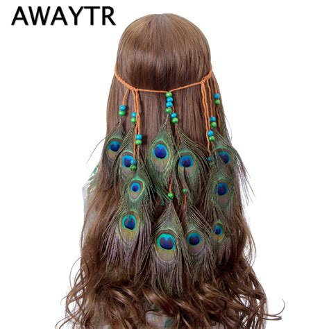 Indian Headbands Peacock Feather Hair Accessories aliexpress buy awaytr feather peacock headband