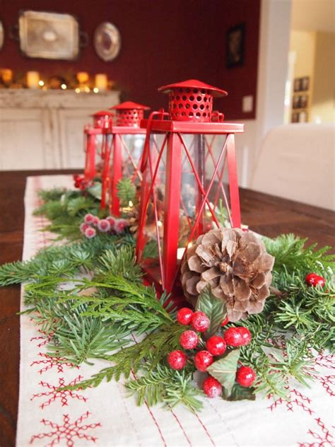 table centerpieces christmas decorating ideas decorations classic red candle lantern christmas table centerpiece