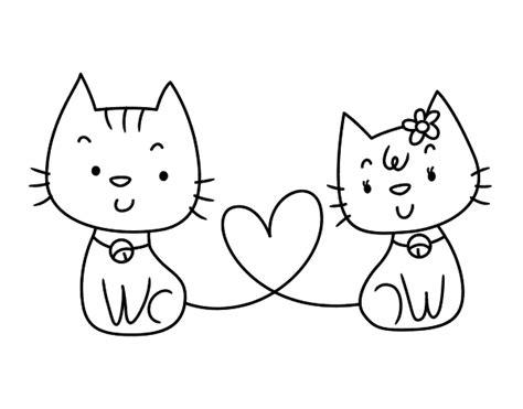 dibujos para pintar kawaii desenho de gatos apaixonados para colorir colorir com