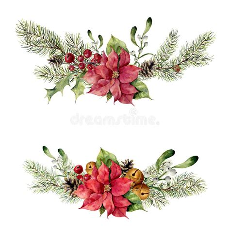 watercolor winter floral elements on white background
