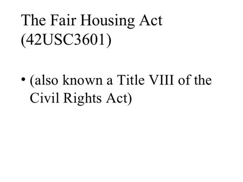 fair employment and housing act the fair housing act 2