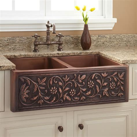 Farmhouse Copper Kitchen Sink 36 Quot Vine Design Bowl Copper Farmhouse Sink Beautiful Copper And Kitchen Sinks