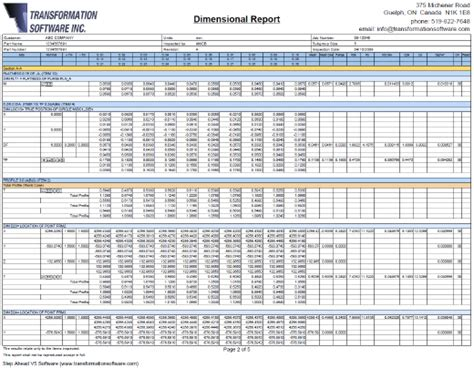 Dimensional Report Template