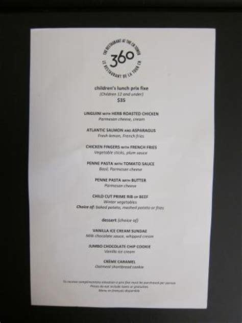 360 Restaurant Gift Card - 360 children s menu picture of 360 the restaurant at the cn tower toronto tripadvisor