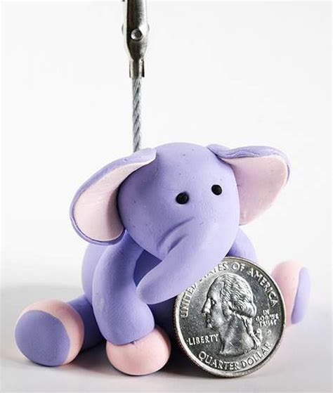 Purple Elephant Baby Shower Decorations purple clay baby elephant photo holder baby shower