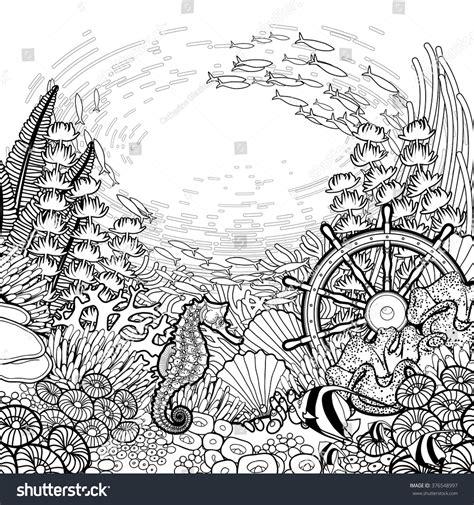 ocean background coloring page graphic coral reef sea horse ocean stock vector 376548997