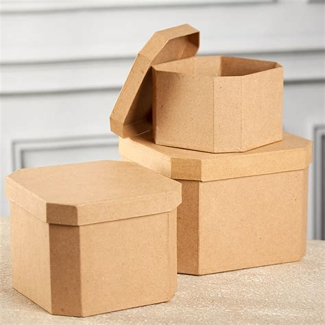 Paper Mache Craft Supplies - paper mache corner square box set paper mache