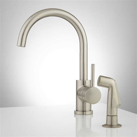 single faucet kitchen lora gooseneck single handle kitchen faucet with side