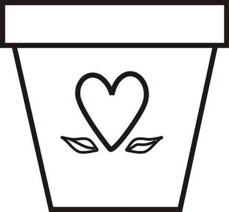 coloring page of flower pot a flowerpot with heart and leaves art projects