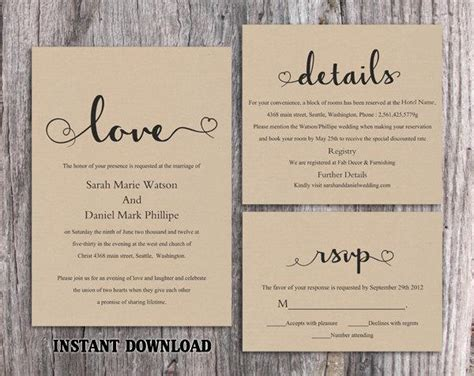 rustic wedding invite template diy burlap wedding invitation template set editable word