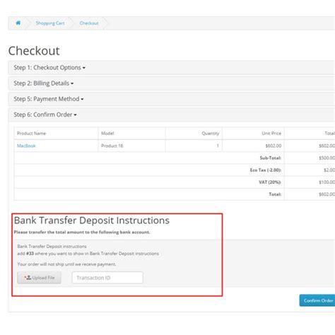 bank transfer bank transfer deposit for opencart