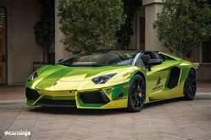 Chromed Lamborghini Lamborghini Aventador Roadster In Tennis Yellow Chrome