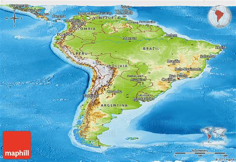 south america physical political map physical panoramic map of south america political outside