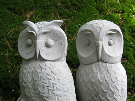 Garden Owl by Owls Cast Garden Owl Statues Two Concrete Owls Pair