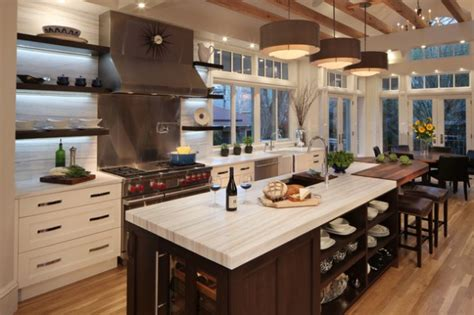 Open Kitchen Design With Island by 18 Practical Kitchen Island Designs With Open Shelving