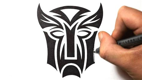 how to draw transformers logo tribal tattoo design style
