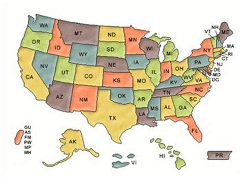 map of us states abbreviations image gallery map abbreviations