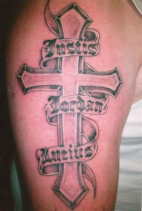 half sleeve cross tattoos banner and cross on right half sleeve