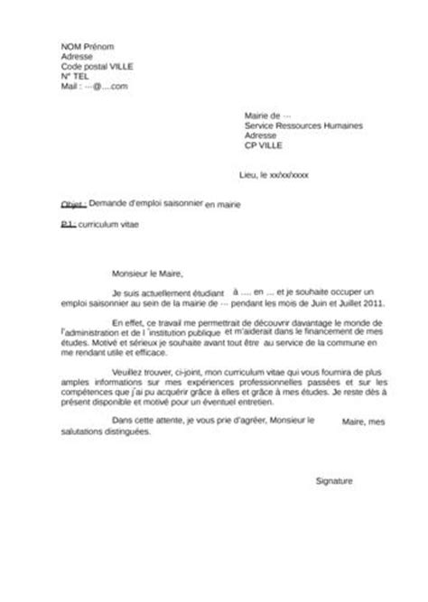 Exemple De Lettre De Motivation ã Tã Demande D Emploi En Mairie Lettre Employment Application