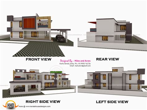 building houses with side views 3d view with plan kerala home design and floor plans
