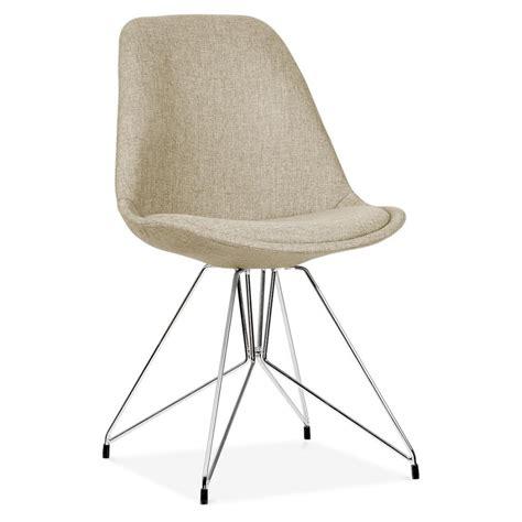 upholstered dining chair  geometric metal legs beige