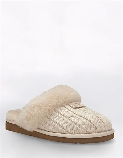 ugg knit slippers sale ugg cozy cable knit slippers in beige lyst
