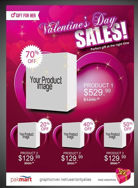 Free Gift For Her Valentine S Day Sale Flyer Psd Template Titanui Gift Flyer Template