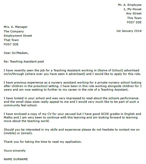 Support Letter For Teaching Assistant Letter Of Application Letter Of Application Teaching Assistant Uk