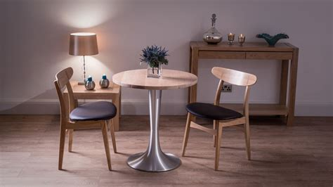 Small Round Washed Oak Dining Table and Chairs