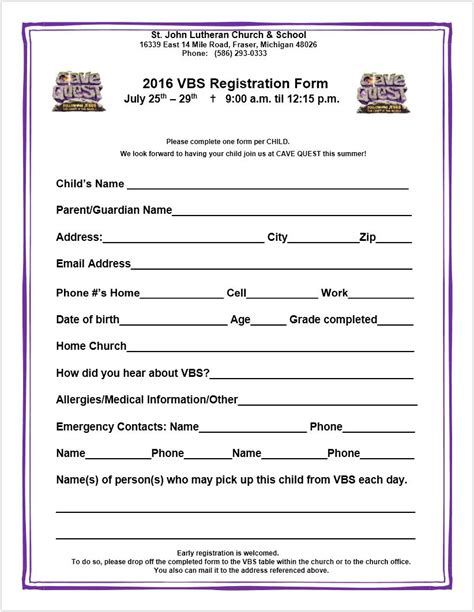 Vbs Registration Form Saint John Lutheran Church School Church Registration Form Template