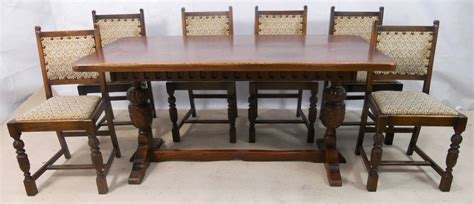 Antique Style Dining Table And Chairs Sold Antique Jacobean Style Oak Beech Refectory Dining Table Six Matching Dining Chairs