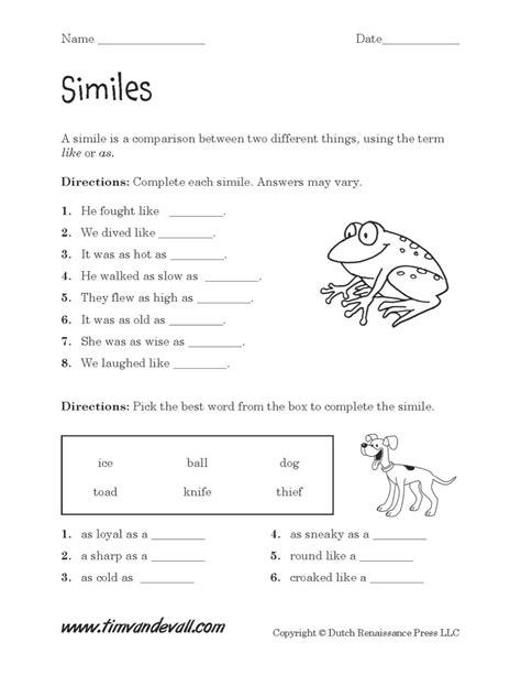 similes worksheet 02 tim s printables