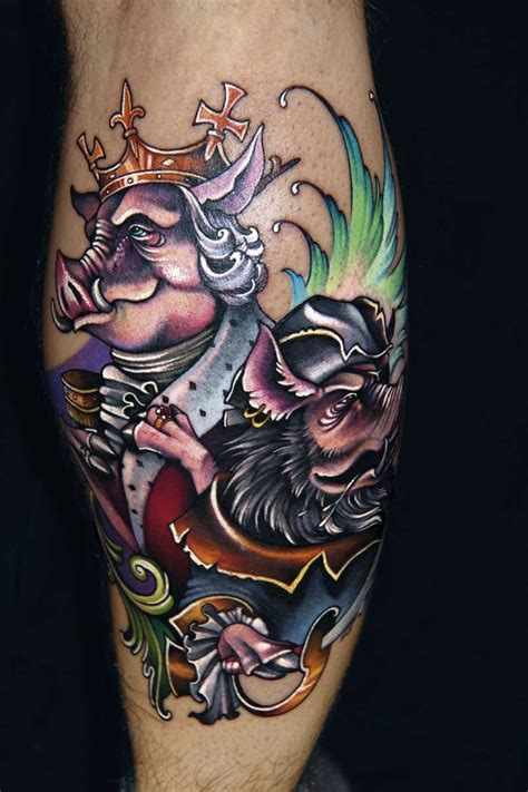 tattoo cartoon style funny cartoon style colored leg tattoo of fantasy pig king