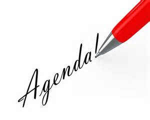 0914 red pen writing agenda for business stock photo