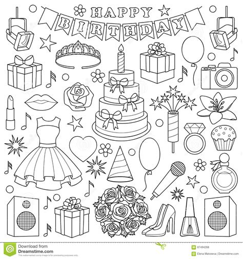 girl birhtday doodle set stock vector illustration