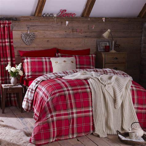 Tartan Duvet Sets Edinburgh Double Red Tartan Plaid Reversible Cotton Duvet Set Quilt Cover Ebay