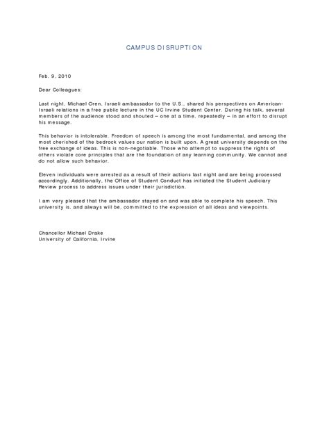 Regent Acceptance Letter Intolerance On Cus Comments From Yudof And Chancellors Fox And Ucsd Uci Uc