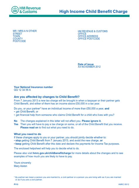 Tax Credit Letter About Single Claim Child Benefit Tax Charge Letter
